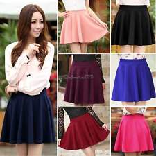 2016 Women Candy Color Stretch High Waist Plain Skater Flared Pleated Mini Skirt