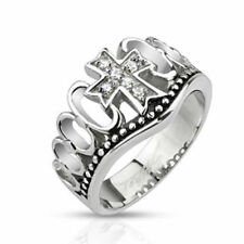 """Stainless steel mens ladies Ring silver """"Zirconia Cross"""" JEWELRY by ALLFORYOU"""