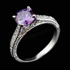 Fashion CZ Ring Size 6-10 Purple Amethyst Crystal Women's 10Kt White Gold Filled