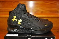 Under Armour UA Charged Foam Curry 1 Black Out Triple Black Gold Men Sz: 8-14