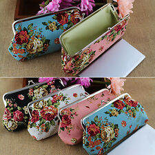 Women Coin Purse Money Bag Case Wallet Keys Card Pouch Flower Pattern Hasp Chic