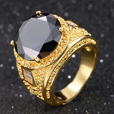Round Cut Size 7,8,9,10 Woman Man 18K Gold Filled Black Sapphire Ring Gift Halo