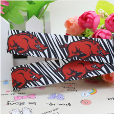 "GROSGRAIN ARKANSAS RAZORBACKS ZEBRA PRINT 7/8"" GROSGRAIN RIBBON 1, 3, 5 YDS"