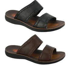 Mens Leather Black Brown Big Size Open Toe Mule Holiday Sandals Beach Flip Flops