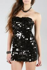 Very Sexy Party Dress, Clubwear,Black Sequin Evening,Homecoming,Bridesmaid S,M,L