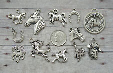 10 pc Horses Silver Charm Set Lot Collection / Horse Country Western Equestrian