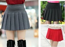 Spring Women Casual Stretch Solid High Waisted Flared Mini Pleated Skirt Dresses
