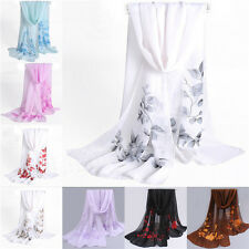 New Women Girls Floral Chiffon Soft Neck Scarf Shawl Scarves Long Stole Wraps