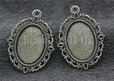 5/20/100pcs Tibetan Silver Cameo Cabochon Base Setting Jewelry Charms 30x22mm