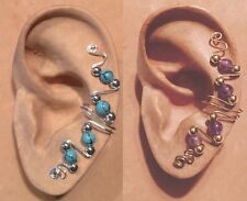 HANDMADE STERLING S OR 14KGF WIRE WRAPPED EAR IVY FULL CUFF SEMI PRECIOUS BEADS