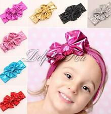 Baby Girls Toddler Shiny Big Bowknot Headband Turban Hairbow Elastic Headwear