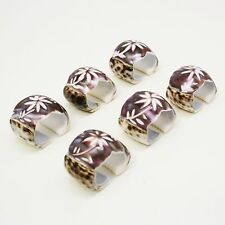 Set of 6 Engraved Tiger Cowrie Sea Shell Napkin Holder Rings Flower Pattern