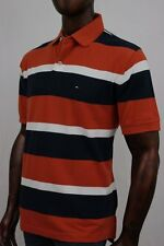 Tommy Hilfiger Orange, Navy And White Stripe Polo   ~ NWT ~