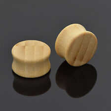 Natural Bamboo Ear Tunnels Plugs Double Flared Ear Expander Stretcher Gauges