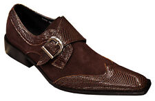 Zota Brown Lizard Print Genuine Leather / Suede Monk Strap Buckle Style Shoes