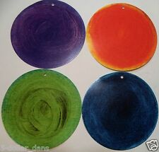 (100) 4 inch round Blue Green Orange Purple HANG TAGS gift present child school