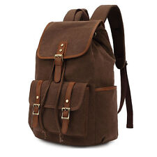 Men Vintage Canvas Hiking Travel Military Messenger Tote Bag Backpack School bag