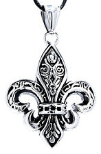 Fleur-de-Lis Pendant Stainless Steel with rope/Chain French Lily Fleur de Lys