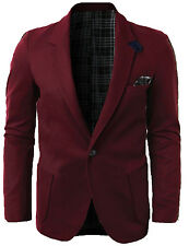 Doublju Men's Slim Fit One Button Knit Blazer Sports Coat, Burgundy XL, S