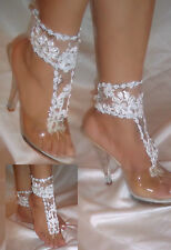 Pair of White Flower Barefoot Sandals, Ankle Glams, Beach Wedding Sandals