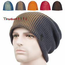 New Gradient Dyed Craft Loose Long Beanie Cotton Skull Hat Fleece Lined Ski Cap
