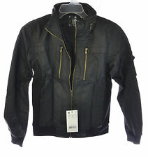 Doublju Men's Faux Leather Slim Fit Zipper Jacket w/ Hidden Hood Black S
