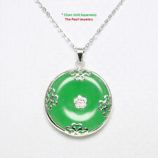 Sterling Silver 925; Butterflies on 26mm Cabochon Disc Green Jade Pendant