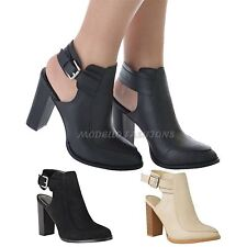 NEW WOMENS LADIES BLOCK HIGH HEEL ANKLE STRAP POINTED TOE SMART SHOES BOOTS SIZE