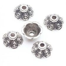 50/100Pcs Spiral Shape Flower Tibetan Silver Bead Caps Necklaces Findings 9x4mm