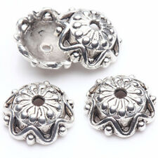 15/30Pcs Tibetan Silver Plated Blooming Pistil Round Flower Bead Caps 12x4mm