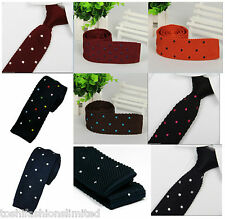 TOSHI Men's Polka Dot Wool Knitted Tie Necktie Narrow Slim Skinny Tie 9 Styles