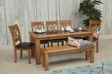 GRANT LARGE DINING TABLE SET KITCHEN SOLID OAK GRANITE 2/4/6 CHAIRS OR BENCH