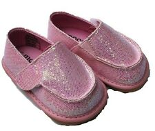 MOOSHU Trainers Squeaker Shoes CAN NEW Pink Sparkle Sz 3-9 Slip On