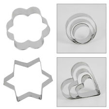 Stainless Steel Biscuit Cookie Pastry Fondant Mold Cutter Cake Decorating 12Pcs