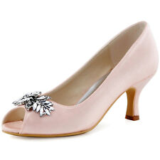 HP1540 Beige Mid Heel Satin Rhinestones Peep Toe Pumps Evening Party Pink Shoes