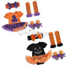 Halloween Baby Girls Party Costume Romper Bodysuit Fancy Dress Outfit Set 0-9M