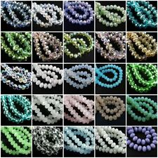 Charms 30Pcs 8x6mm Faceted Glass Loose Beads Spacer Rondelle Finding 135Color