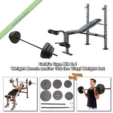 Gold Gym Bench XR6.1 Golds Weightlifting Benches with/or Bar &100lb Weights Set
