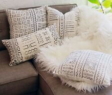 Handmade African Mudcloth Throw Pillow Cover White Square Couch Sofa Decorative