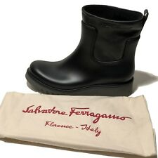 New FERRAGAMO Mens ARITZ Black Dress Leather Ankle Fashion Boots Wingtip 0521972