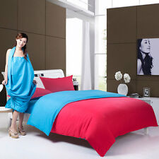 Red Blue Simple Double Queen King Size Bed Set Pillowcases Quilt Duvet Cover