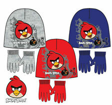 ANGRY BIRDS HAT GLOVE SET BOYS KIDS WINTER AGE 2-8 YEARS OFFICIAL LICENSED
