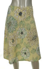 New York & Company Yellow/White/Green Floral Design Skirt