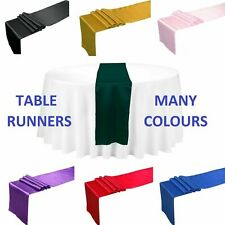 10 TABLE RUNNERS SATIN WEDDING EVENT RUNNER SASH COVER CHAIR BLACK SILVER WHITE