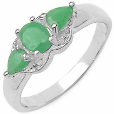 0.73 CTW Genuine Emerald Gemstone & White Diamond .925 Sterling Silver Ring