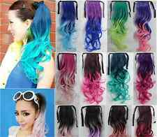 Hot Ombre Ponytail Hairpieces Hair Ribbon Clip in Cruly Ponytail Hair Extension