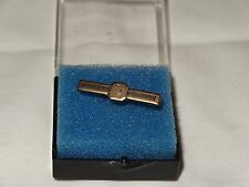Anitque Gold Bar 3 Year Pin Ribbed Brooch VTG Monogram Beveled clamp clip tie
