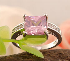 Fashion silver shiny pink cubic zirconia noble lady's ring size 7-9