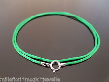"1mm Green Silk Style Cord & Sterling Silver Necklace 14"" 16"" 18"" 20"" 22"" 24"" etc"