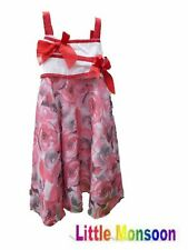 New Girl Party Dress WHITE WITH RED BOW  4-5 5-6 6-7 7-8 8-9 9-10 YEARS